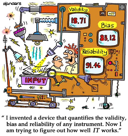 "cartoon about bias and reliability, ""I invented a device that quantifies the validity, bias and reliability of any instrucment.  Now I am trying to figure out how it works!"""