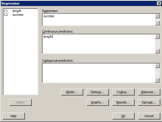 Minitab regression dialog box