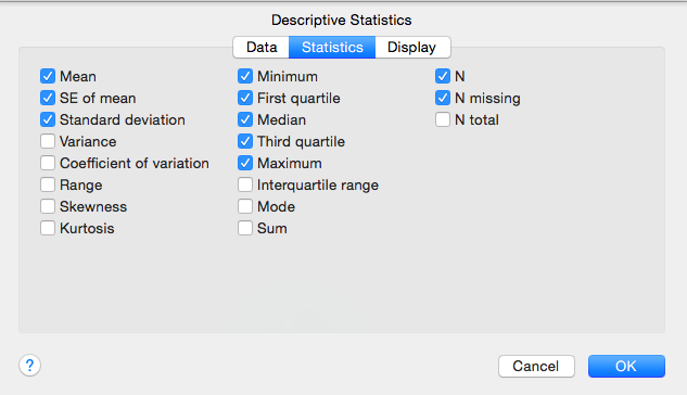 Minitab Express: Descriptive Statistics Defaults