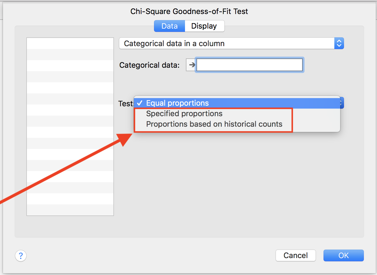 Screen shot from Minitab Express showing where to change the null  proportions. «