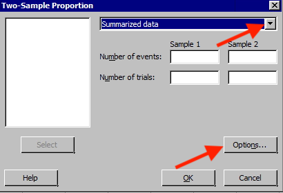 Minitab window for two-sample prortion test.