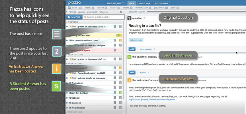 Sample user interface for Piazza's Question & Answer view