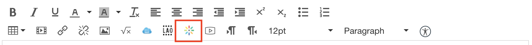 Rich content editor in Canvas with the Kaltura icon highlighted