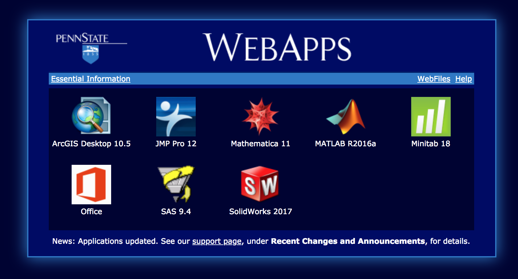 Screenshot of the PSU WebApps application list.